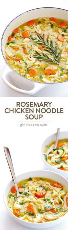 This Rosemary Chicken Noodle Soup recipe is kicked up a notch with the addition of lots of fresh aromatic rosemary and it's ready to go in about 30 minutes!