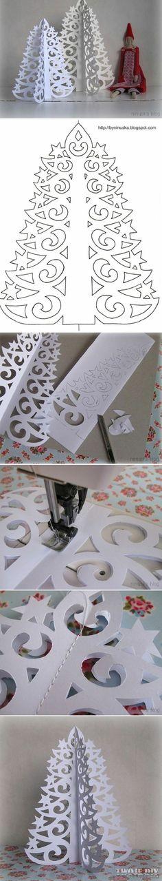 Елку из бумаги можно вырезать по этой схеме.