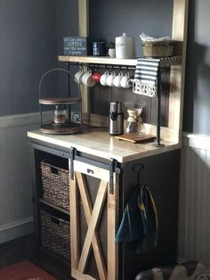 coffee bar ideas This Piece measures top shelf is approx. Total height to top is The counter depth is inside depth is with counter top height at Top, Coffee Bar Design, Coffee Bar Home, Coffee Corner, Coffee Bars, Small Apartment Storage, Small Storage, Coin Café, Mini Chalkboards, Barn Style Doors