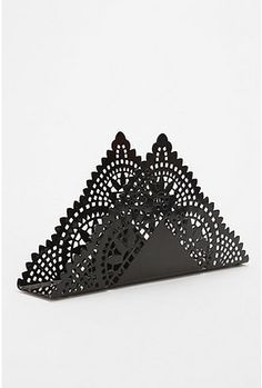Lace Napkin Holder. $8 #22647515       COLOR:  BLACK.  http://www.urbanoutfitters.com/urban/catalog/productdetail.jsp?itemdescription=true&itemCount=80&startValue=561&selectedProductColor=&sortby=&id=22647515&parentid=A_DECORATE&sortProperties=+subCategoryPosition,+product.marketingPriority&navCount=595&navAction=jump&color=&pushId=A_DECORATE&popId=APARTMENT&prepushId=&selectedProductSize=