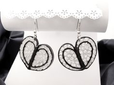 Delicate heart shape earrings by lacartaincantata on Etsy, $11.00