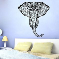 Decorated Elephant Wall Decals Indian Elephant Art Design Mural Animals Decor Sticker Decal size 33x52 Color