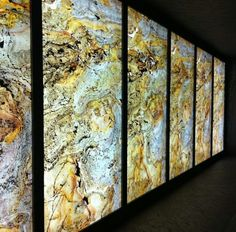 Our translucent stone veneer backlit to great effect