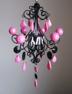 Zebra Cage Hot Pink and Black Baby Mobile by ShabulousChandeliers, $45.00