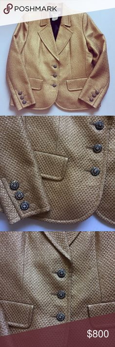 Vintage Yves Saint Laurent Gold metallic jacket L Size 42 ( US 10-12, Large) gold metallic Vintage Yves Saint Laurent Rive Gauche Jacket / blazer / suit top - Jacket is in excellent vintage condition with no holes, rips, or stains, has small hardly noticeable imperfections due to age such as the odd rise in fabric, and color chips on buttons (which are now black that were likely once gold) Yves Saint Laurent Jackets & Coats Blazers