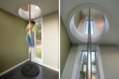 Design Detail – A fire pole is a fun way to travel between floors. When Designs Northwest Architects were designing this home in Stanwood, Washington, they included a fire pole as a fun way to get between floors.