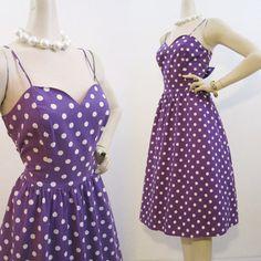 80s Sun Dress Vintage Purple Polkadot Full Skirt Sweetheart Sundress M L