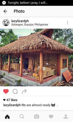 Bamboo House Design, Tropical House Design, Small House Design, Tropical Houses, Hut House, Bali House, Tiny House Cabin, Village House Design, Bungalow House Design