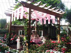 love the pink drapes on the pergola