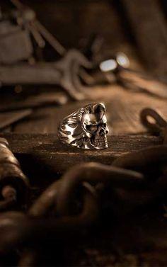 Rumble59 - Edelstahl-Ring - Rockabilly Skull