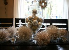 diy toothpick snowball ornaments...or spray with gold paint and sprinkle with glitter
