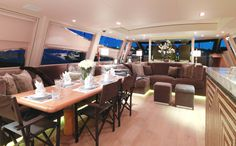 Originally built in 2005 by Arno the luxury yacht Cheeky Tiger can accommodate up to eight guests in a full beam master cabin, a private VIP suite, two guest cabins and a media room that can be transformed into another sleeping cabin.    Dine under the stars, sunbathe on the upper-deck, enjoy a massage on-board or unwind with a yoga class – the Cheeky Tiger crew are fully trained