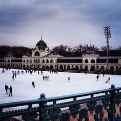 Iceskating in City Park Ice-rink, Budapest Hungary
