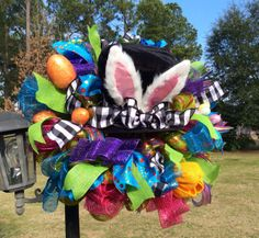 Mad Hatter Easter Wreath by TazCreations on Etsy, $90.00