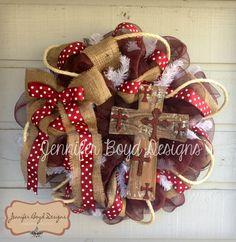 Texas A Aggies Rustic Western Cross Everyday Deco Mesh Wreath in Maroon and Burlap. $85.00, via Etsy.