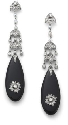 PHILLIPS : UK060111, , A pair of onyx and diamond ear pendants