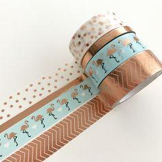 Masking Tape - Washi Tape Set Copper Flamingo - ein Designerstück von Herz-Buffet bei DaWanda
