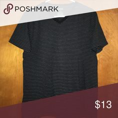 Men's Stretch V-Neck Tees Express men's stretch v-neck tees in striped black/grey or solid black. Short sleeve v-neck. Super soft. Perfect condition.  The black/grey striped is 77% cotton, 18% polyester.  The solid black is 94% cotton, 6% spandex. Express Shirts Tees - Short Sleeve