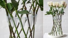 Lambert Rainville designed a new reusable invention - a plastic ring with small v shaped pockets turns long stemmed flowers into their own vase. Natural Cleaning Recipes, Natural Cleaning Products, Clever Design, Cool Designs, Growing An Avocado Tree, Dozen Roses, Plastic Flowers, Gadgets And Gizmos, Flower Vases