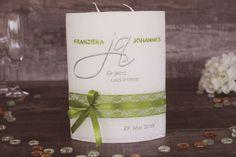Hochzeitskerze Ja Pillar Candles, Place Card Holders, Bottle, Wedding, Jasmine, Lisa, Decorated Candles, Cards, Organization