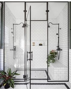 Home Interior Design black and white bathroom walk in shower with built in seat.Home Interior Design black and white bathroom walk in shower with built in seat Dream Bathrooms, Beautiful Bathrooms, Modern Bathrooms, Modern Farmhouse Bathroom, Vintage Bathrooms, Luxury Bathrooms, Master Bathrooms, Craftsman Style Bathrooms, 1930s Bathroom