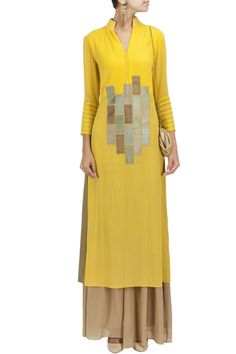 Yellow raw silk patchwork tunic BY MANISH MALHOTRA