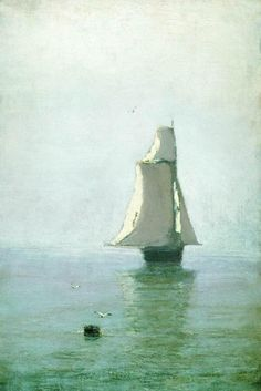 The Sea with a Sailing Ship - Arkhip Kuindzhi - WikiPaintings.org. Impressionist.
