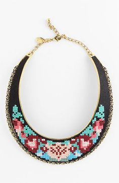 Spring Street Design Group Embroidered Bib Necklace available at Nordstrom. Textile Jewelry, Jewellery, Women's Jewelry, Turquoise Necklace, Beaded Necklace, Necklaces, Handcrafted Jewelry, Jewelry Watches, Spring