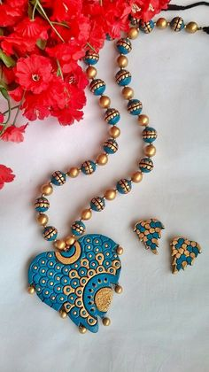 Leaf-Heart Terracotta Necklace and Ear-hangings set