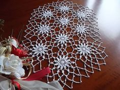 large crochet oval doily lace easter decoration table runner placemat white cotton centerpiece unique birthday gift for mom day easter gift by MondoTSK on Etsy