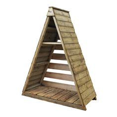 Forest Garden Pinnacle Log Store: x x featuring a distinctive apex roof with a triangular appearance, ideal for placing on a patio or against a wall. Firewood Shed, Firewood Storage, Outdoor Firewood Rack, Log Shed, Log Store, Pressure Treated Timber, Metal Shed, Backyard Sheds, Forest Garden