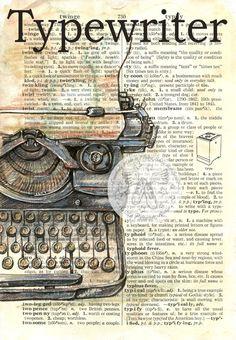 6 « x 9 » impression de lOriginal, technique mixte inspirant en détresse, dictionnaire Page    Ce dessin dune antique machine à écrire est dessiné à