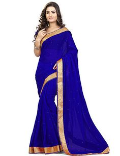 Get a royal chic look with this royal blue saree in upcoming parties. This saree can surely give you a beauty with bold look. Product code - G3-WSA7557 Price - INR 1195/-