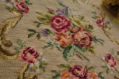 18-034-Red-Rose-Bouquet-Bronze-Color-French-Scroll-Antique-Needlepoint-Canvas