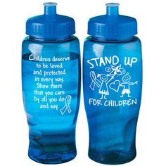 Stand Up For Children Contour Grip Water Bottle (Blue)  Item # WB-615