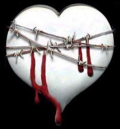 Coeur blanc Blessé qui saigne