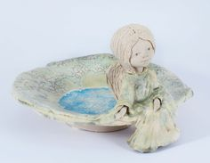 Ceramic handmade plate with angel. Made from chamotte by Midene. SC38