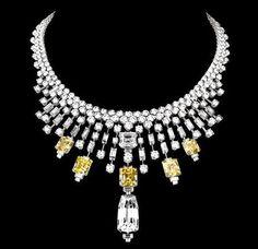 Cartier yellow and white diamond necklace I Love Jewelry, High Jewelry, Bling Jewelry, Diamond Jewelry, Vintage Jewelry, Jewelry Necklaces, Jewelry Design, Bracelets, Jewellery Box