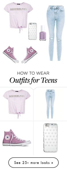 """""""Untitled #468"""" by sparklecookie21 on Polyvore featuring New Look, Converse, Michael Kors and Essie"""