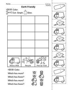 An earth-friendly graphing activity that is perfect for Earth Day or any day! A freebie from TheMailbox. Earth Day Worksheets, Graphing Worksheets, Graphing Activities, Earth Day Activities, First Grade Activities, Science Worksheets, 1st Grade Math, Worksheets For Kids, Kindergarten Activities