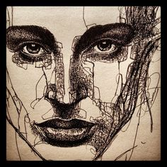 Interesting line drawing of a person's face. Built up value.