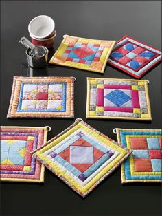 I love the colors that are used. Great little mug rugs or pot holders for a sweet gift for a friend.