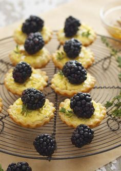 Blackberry goat cheese and honey tartlets. Serve with Sutter Home Pink Moscato for a perfect dessert pairing.