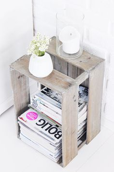 wooden crate re-purposed magazine storage Cheap Home Decor, Diy Home Decor, Magazine Storage, Magazine Rack, Magazine Stand, Magazine Organization, Magazine Table, Kitchen Organization, Magazine Plus