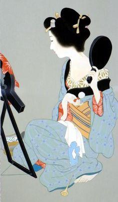 漆絵上村松園の名作「化粧の図」