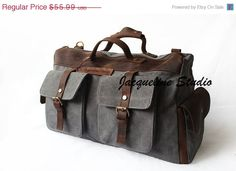 ON SALE Canvas Bag with Genuine Cow Leather by JacquelineStudio, $53.19