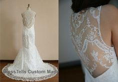 Lace Wedding Dress - backless Ivory wedding Gown / Wedding Dresses / Ivory Bridal Dress / Wedding Gown by Womencloset