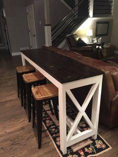 family room design with tv Bar Table Diy, Patio Bar Set, Bar Tables, Diy Bar Stools, Bar Table Behind Couch, Diy Sofa Table, Sofa Tables, Dining Chair, Bois Diy