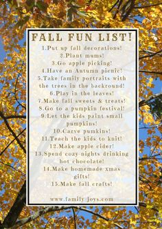15 Fun Things To Do For Fall...with two free fall fun lists!~*