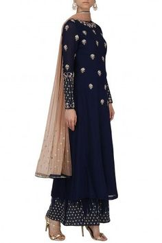 RENEE LABEL  Navy Blue Embroidered Kurta and Palazzo Set #reneelabel #navy #blue #embroidered #kurta #palazzo #set